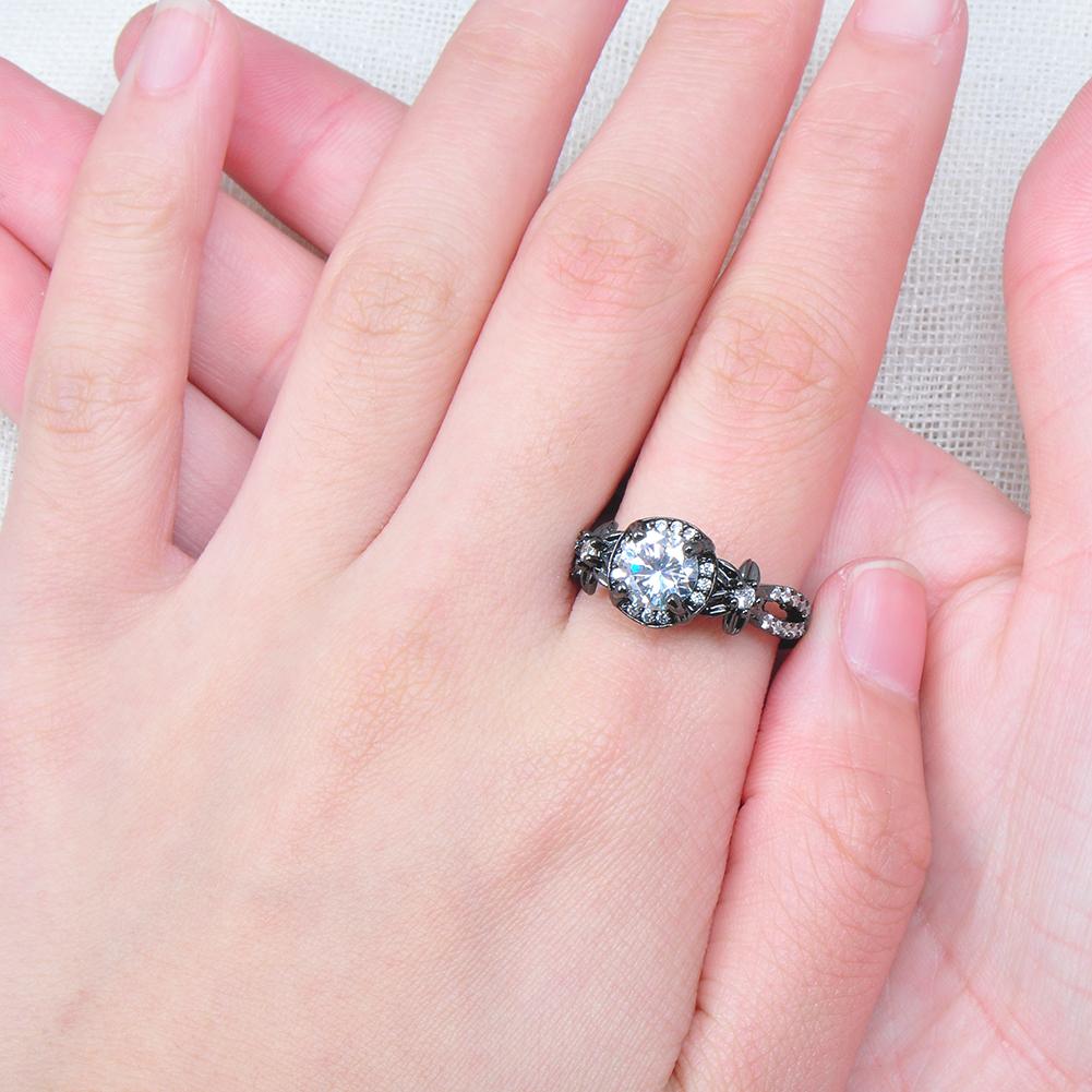Vintage Round White Sapphire Ring 10KT Black Gold Filled Wedding ...