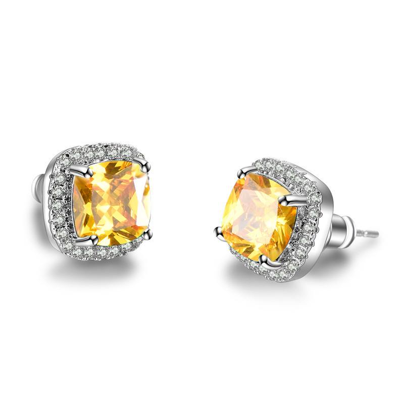 Details About White Gold Princess Cut Yellow Topaz Cz Stud Earrings Women Wedding Jewelry Gift