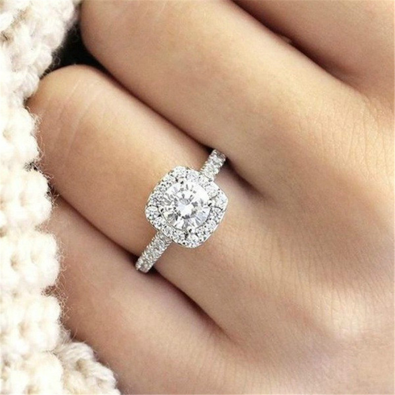 Halo Cushion Cut 18k White Gold White Sapphire Engagement