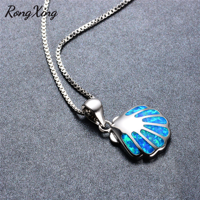 9cdd9a340fe Details about Rong Xing Charm Shell Blue Fire Opal Pendant Necklace 925  Silver Box Chain Women