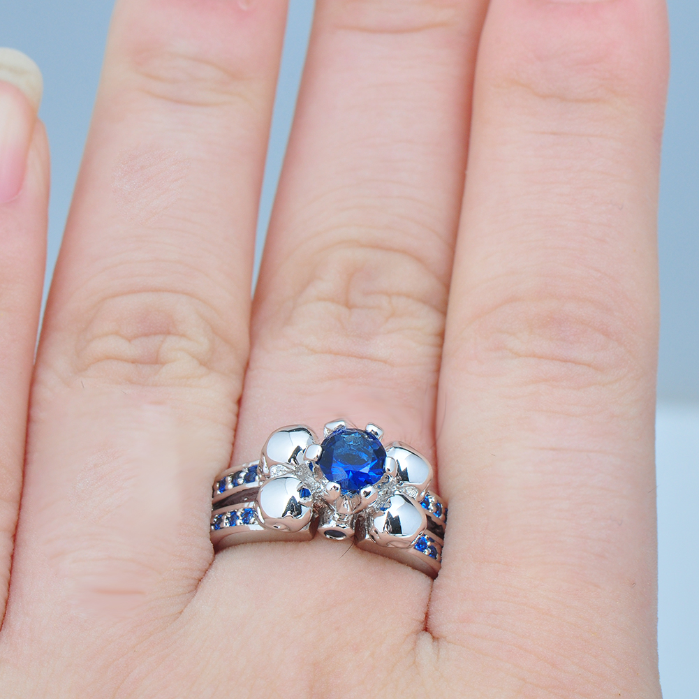 Women\'s Blue Sapphire Skull Wedding Ring 10KT White Gold Filled ...