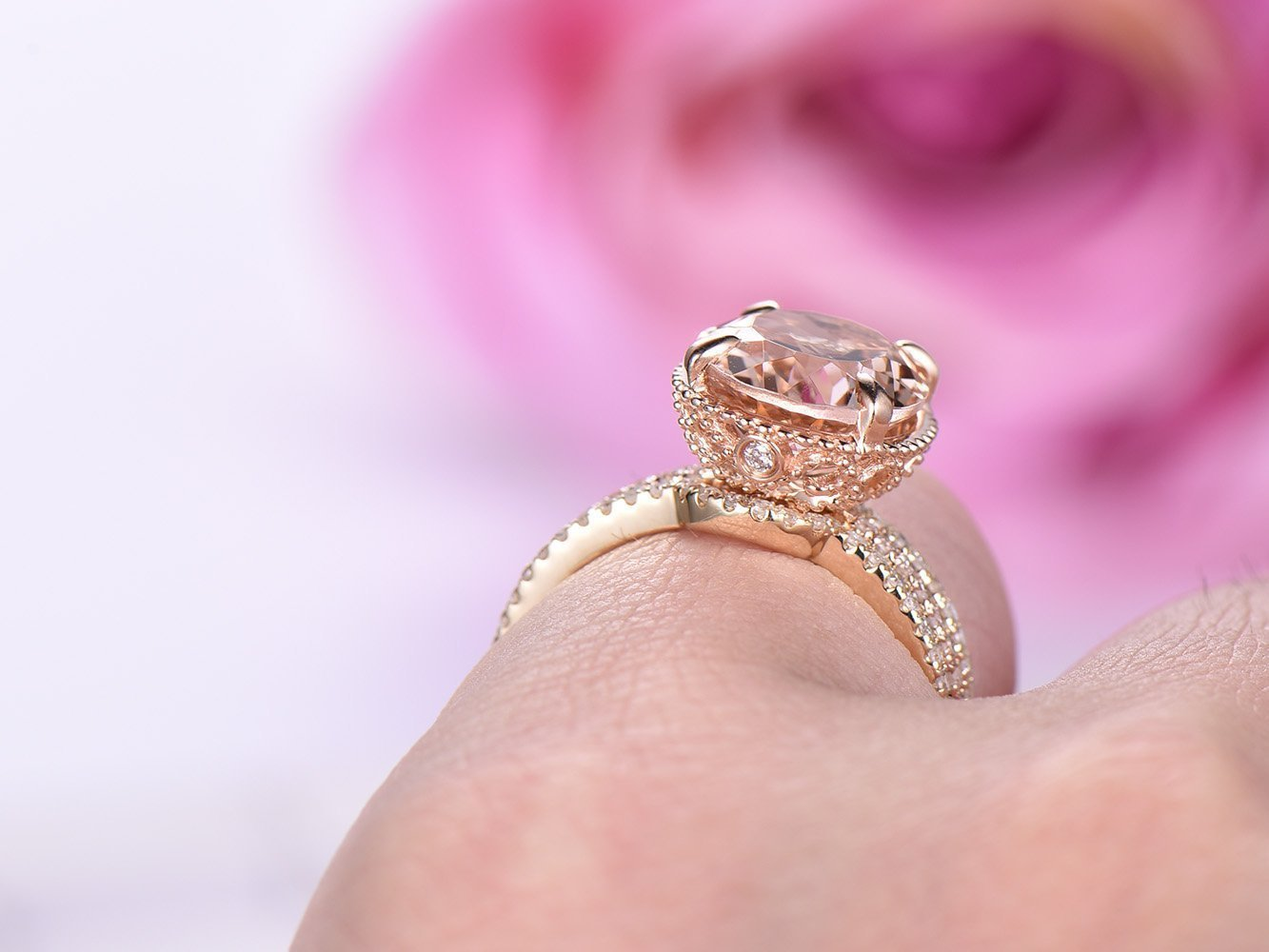 Luxury Oval Cut Champagne Topaz CZ Engagement Ring Set Rose Gold ...