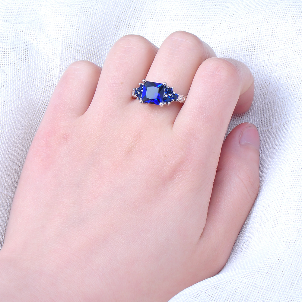Princess Cut Blue Sapphire Wedding Ring White Gold Filled Jewelry ...