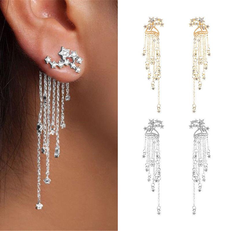 New Womens Star Tassel Earrings Rhinestone Crystal Dangle Earrings Jewelry Gifts
