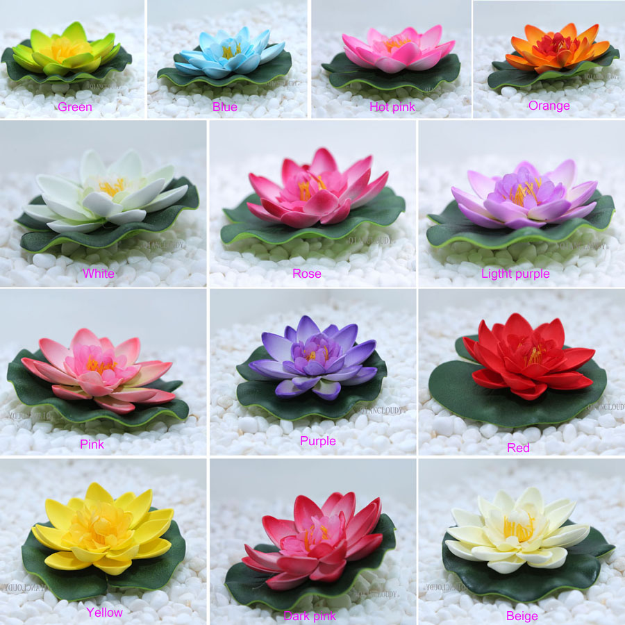 10pcs Artificial Fake Lotus Flowers Water Lily Leaf Floating Pool
