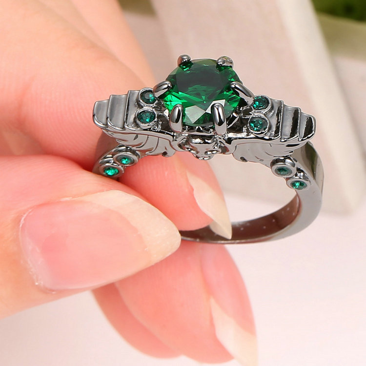 Woman/'s Size 9 Princess Cut Emerald white Rhodium Plated Ring For Wedding gift