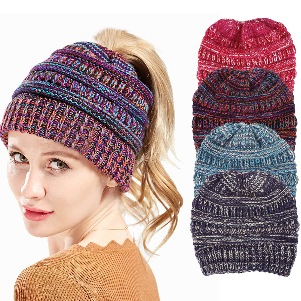 Details about Winter Women Soft Messy High Bun Cap Ponytail Stretchy Knit  Beanie Skull Hat NEW 95a8b1b71ffc