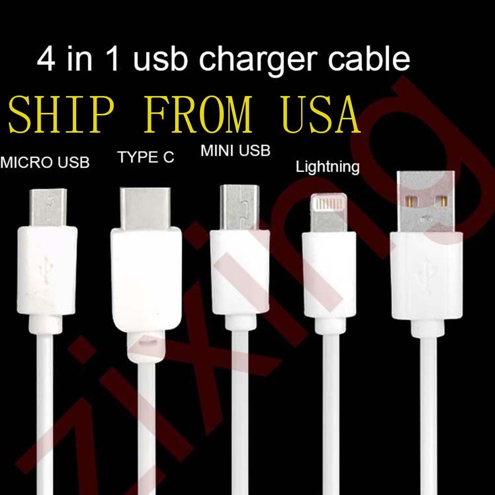 iPod-Micro-Tipo C-MINI HUAWEI Samsung Wi 5-6-7 Cable Cargador 4in1-USB Para-iPhone -