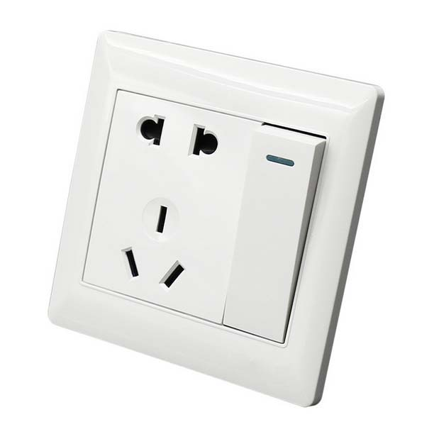 10A 3 Pin Power Single KEY Wall Outlet Switch Socket Plate Panel ...