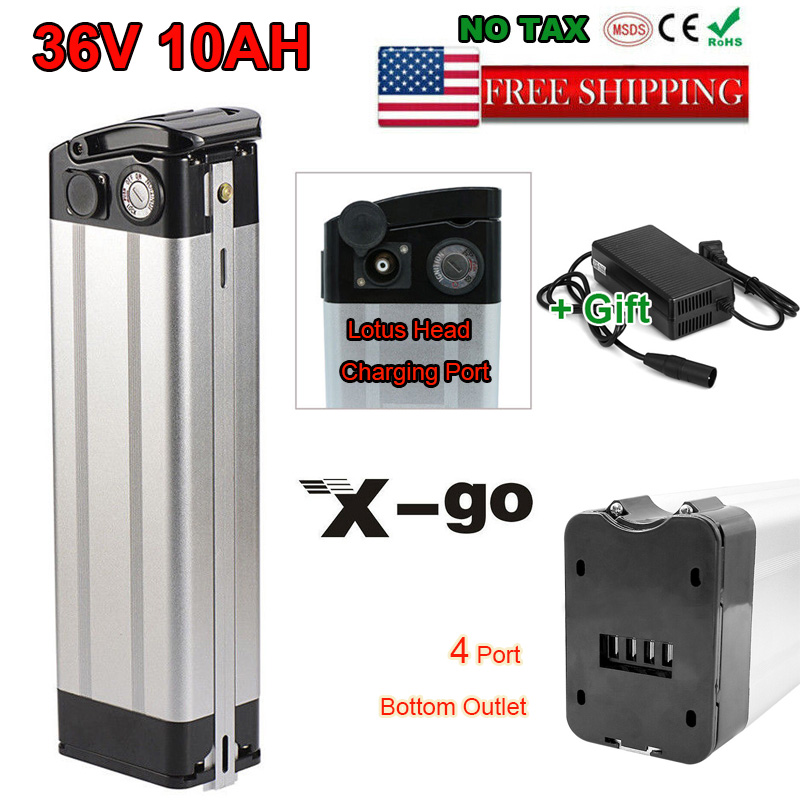 36V 10Ah Lithium Battery w// Charger for 350W Electric Bicycle Bike E-Bike 4 Pins