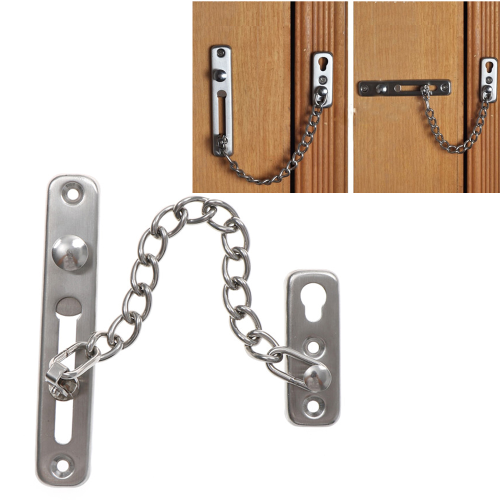 Door Security Guard Chain Lock Bolt With Screw For Home Hotel Silver