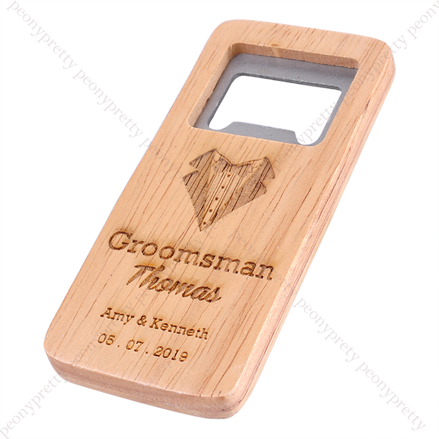 Details about Personalized Wooden Beer Bottle Opener For Groomsmen Bar Gift  Wedding Favors v