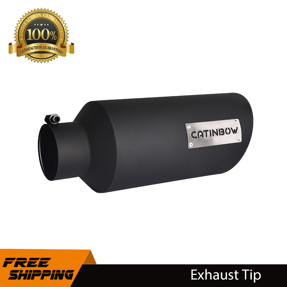 "18/"" Long Black Stainless Steel Exhaust Tip 2.25/"" Inlet 4/"" Outlet"
