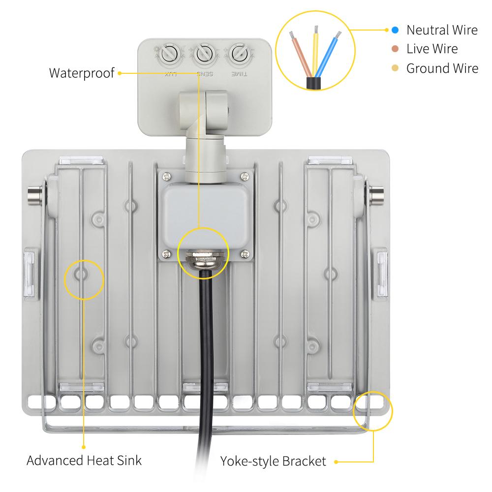 5x 50w 240v Sensor Led Flood Light Cool White Outdoor Garden Wiring Diagram With Sensors For Package