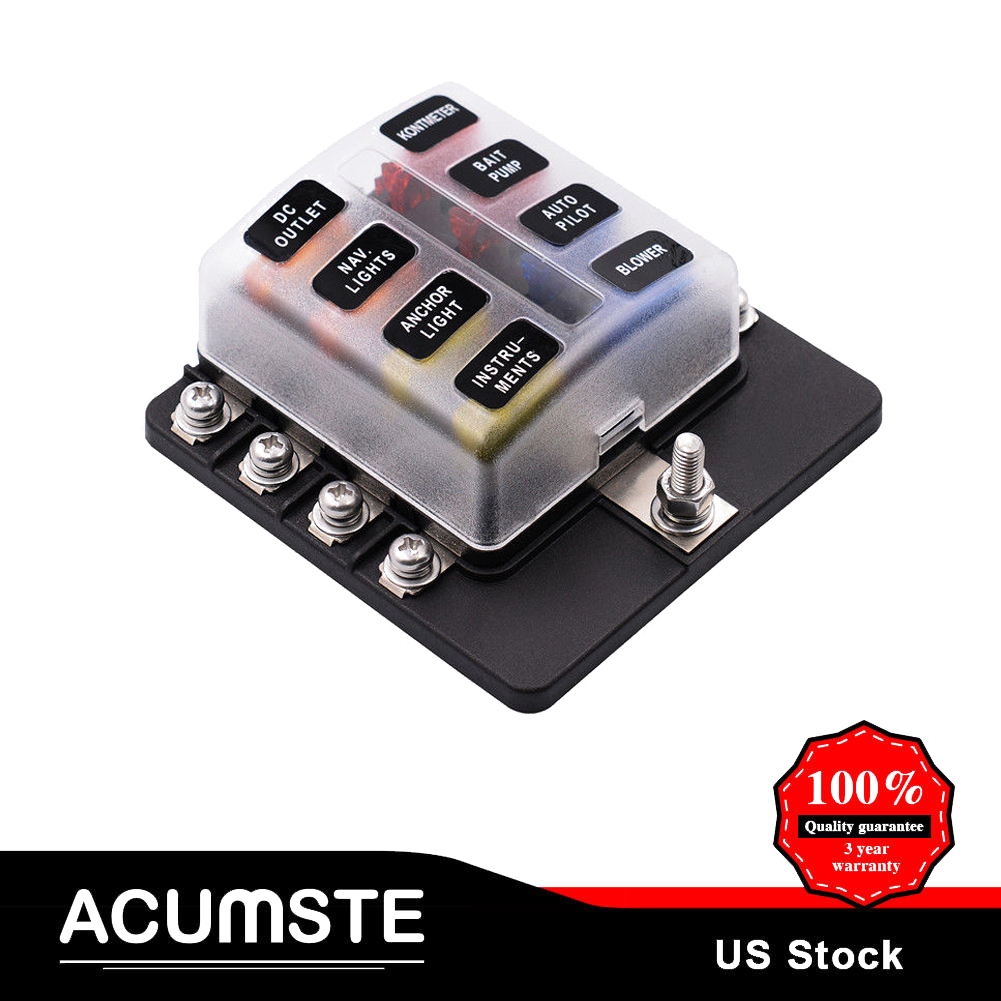 8 Way Blade Fuse Box Block Holder Terminal Circuit For Universal Car Keypad Combination Lock Boat Marine