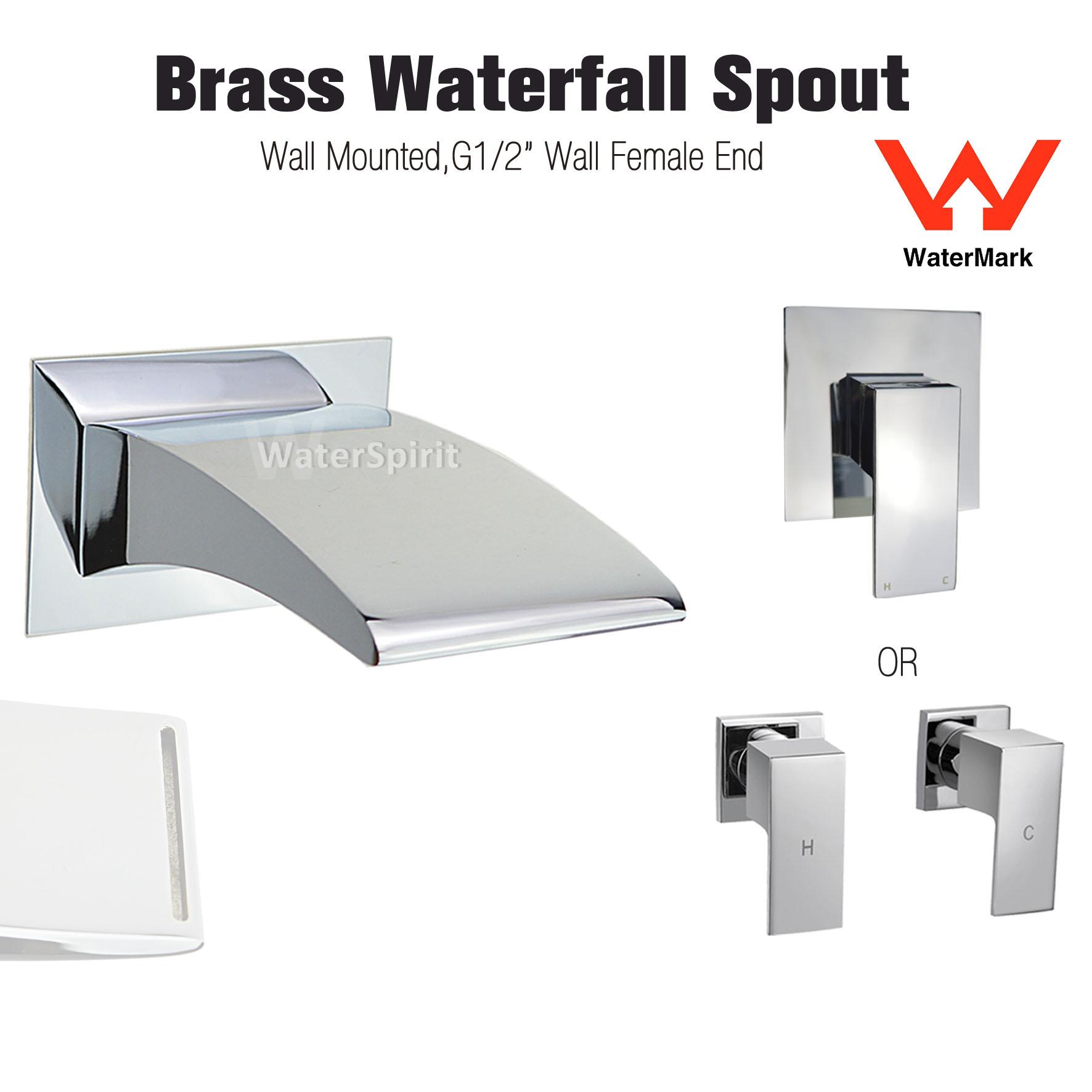 Square Brass Wall Mount Basin Mixer Tap Waterfall Bath Spout Hot ...