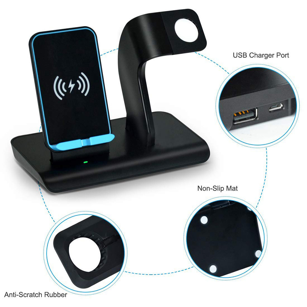 2in1 qi fast wireless charger ladestation f r apple watch. Black Bedroom Furniture Sets. Home Design Ideas
