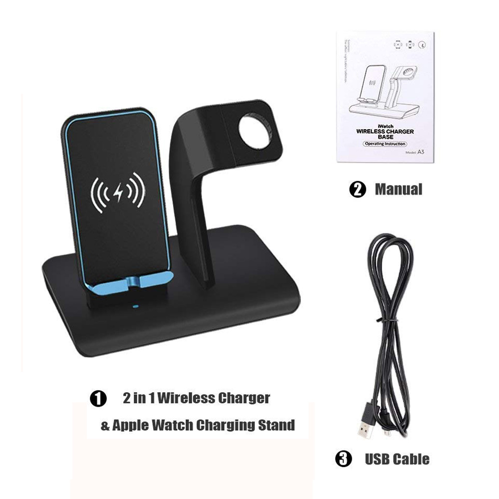 10w Qi Wireless Charger 2in1 Charging Dock Stand For Apple Watch Iphone X Xs Xr