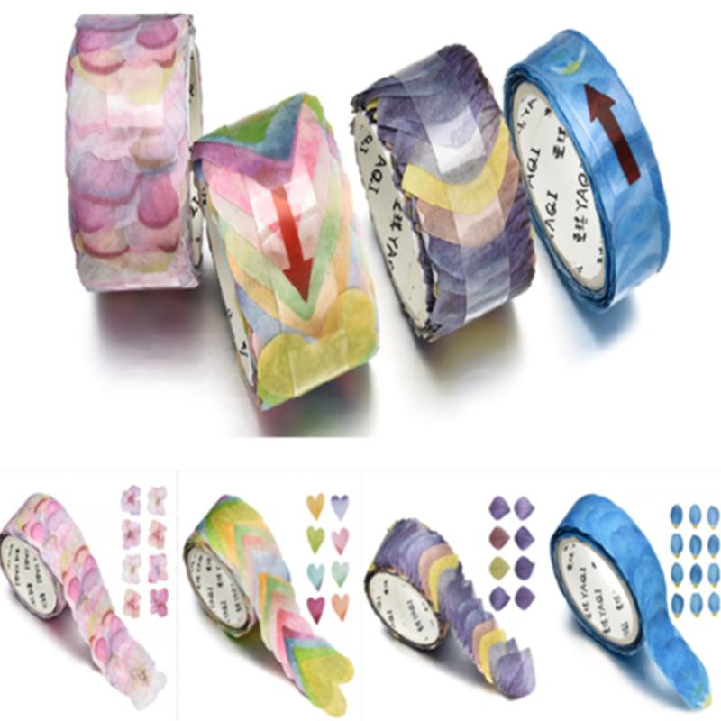 200PCS Lots Masking Scrapbook Sticker Flower Petals Sticky Paper Tape Washi Tape