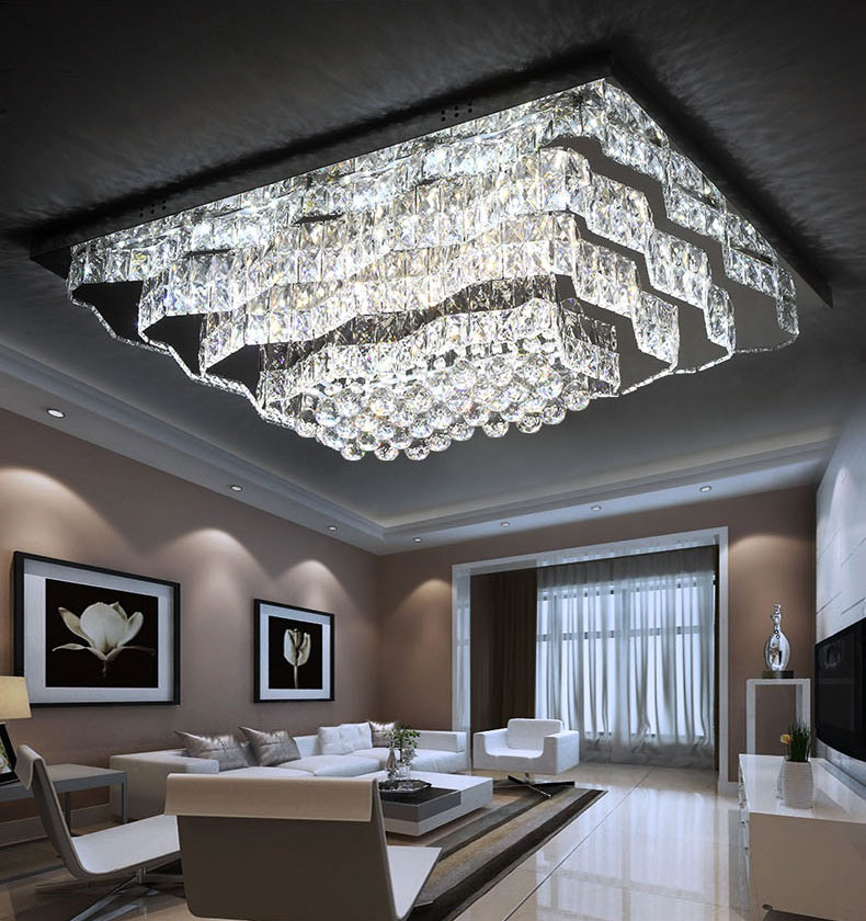 Details about New LED Remote Control Crystal Rectangle Ceiling Lights Pendant Lamp Chandelier