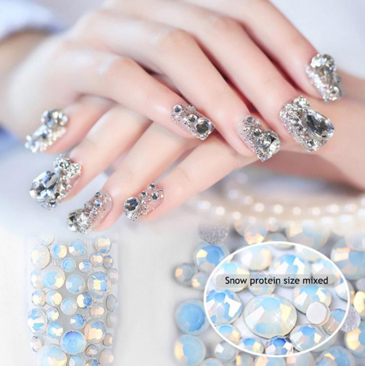 800pc Mix Size 3d Nail Art Deco Nail Rhinestones Beads Sharp Bottom
