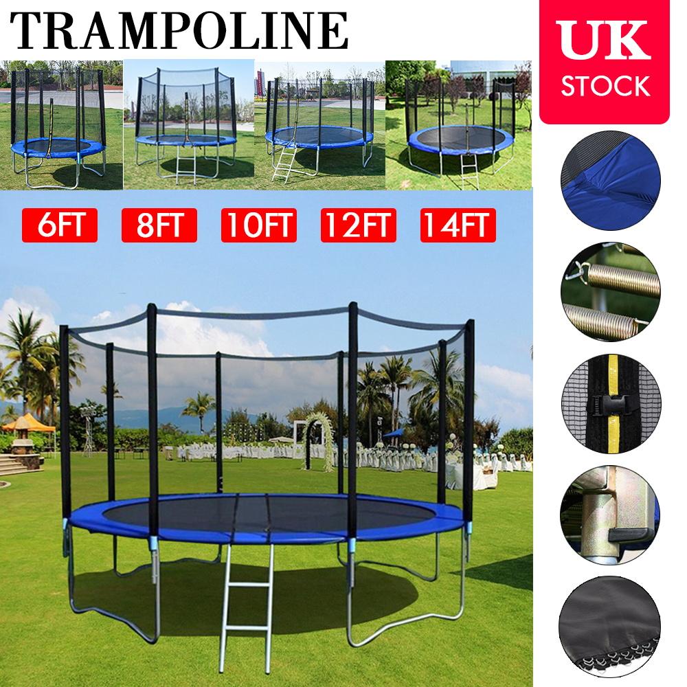 6FT 8FT 10FT 12 14FT Trampoline Safety Net Enclosure Spring Cover Padding Ladder