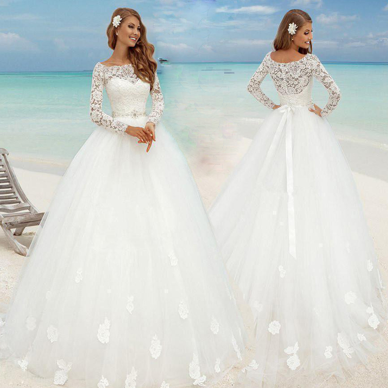 White/Ivory Wedding Dress Lace Sleeves Bridal Gown Custom made Beach ...