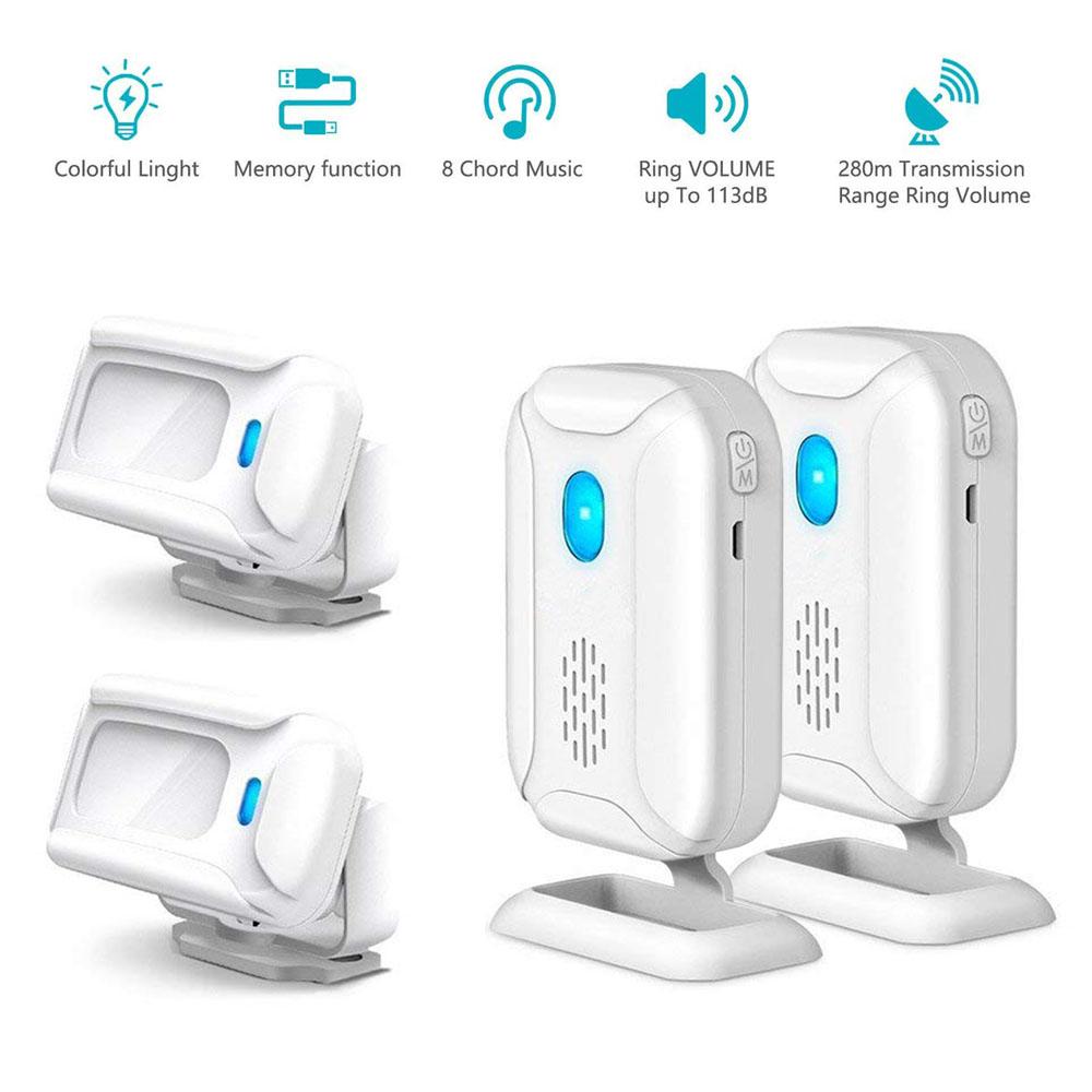 Details about 2 Wireless Motion Sensor Detector Door Bell Welcome Chime  Alert Alarm Doorbells