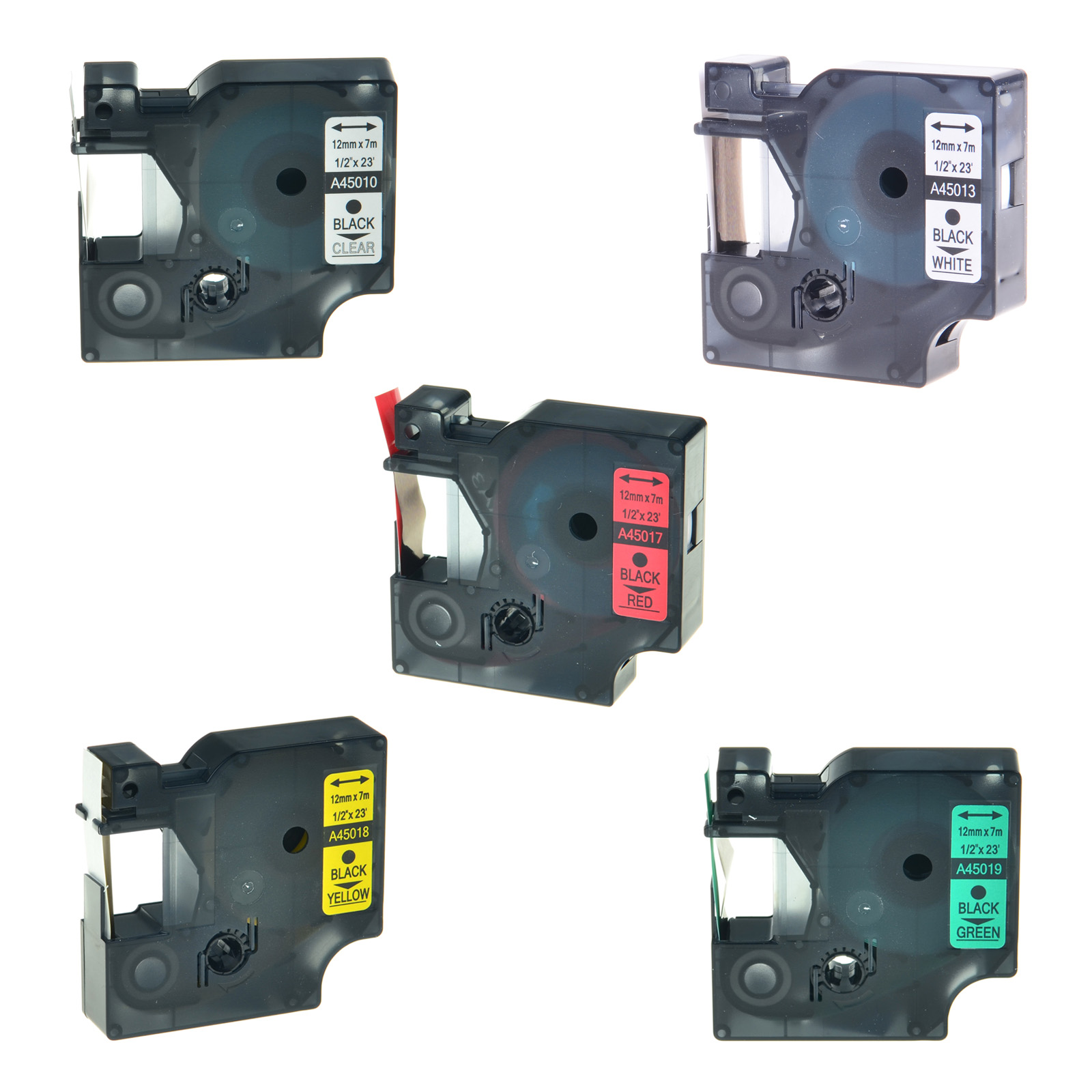 5PK 45013 45016 45017 45018 45019 for Dymo LabelManager D1 Label Tape 1//2/'/' x23/'