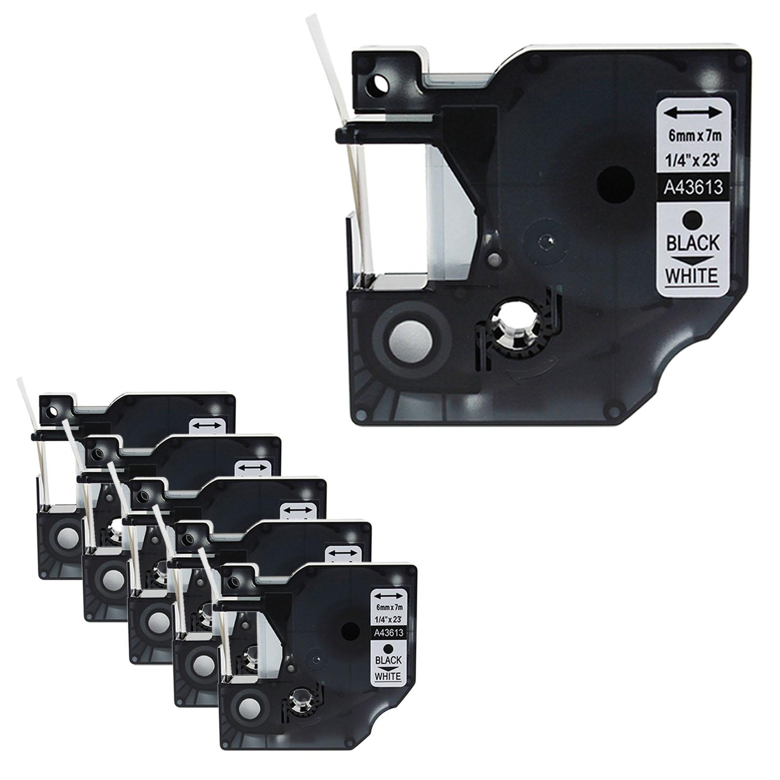 6mm  Black on White 43613 Tape For Dymo D1 Label Maker LabelManager 120P 160 2PK