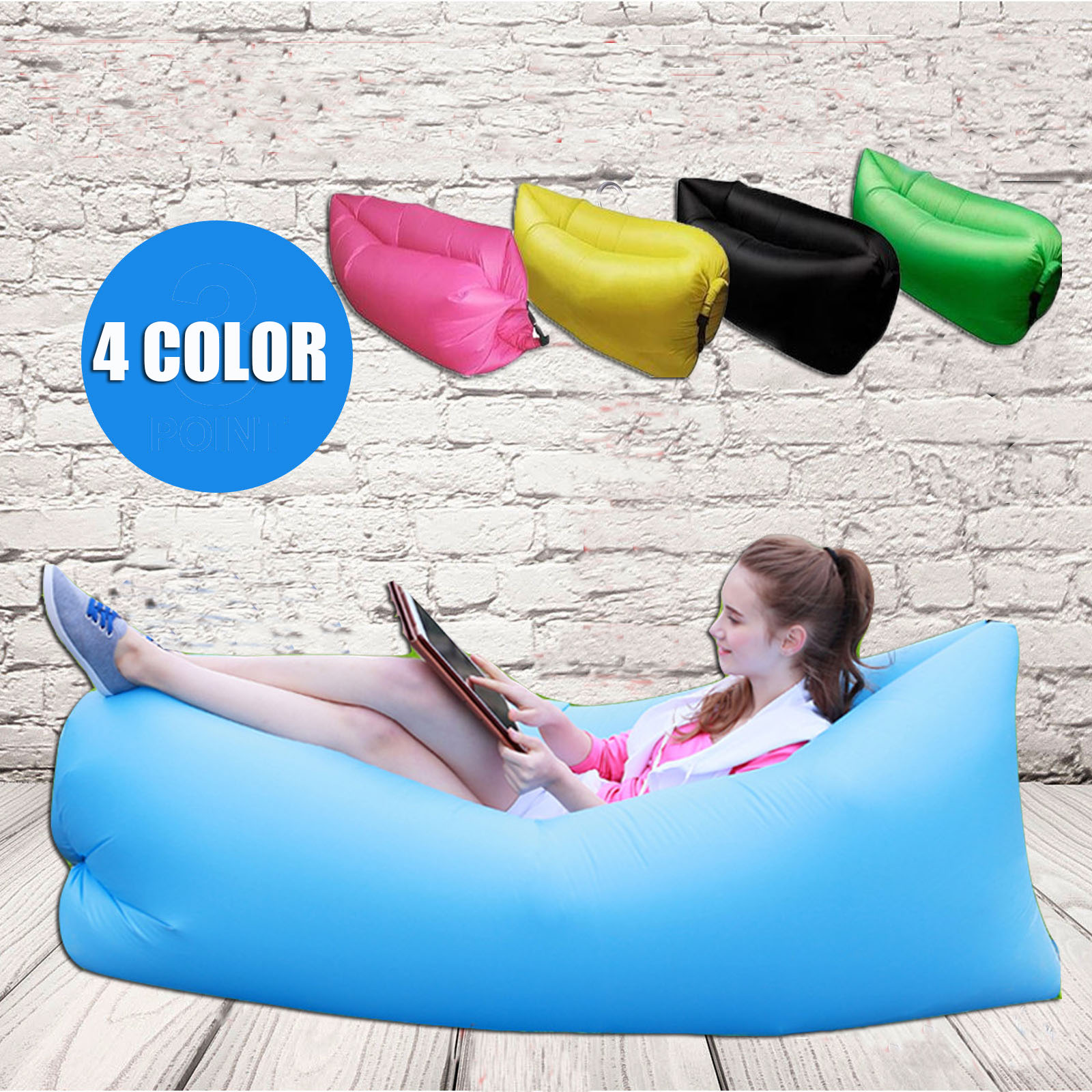 Inflatable Lounge Pod Picnic Air Sleeping Bag Camping Lazy Chair