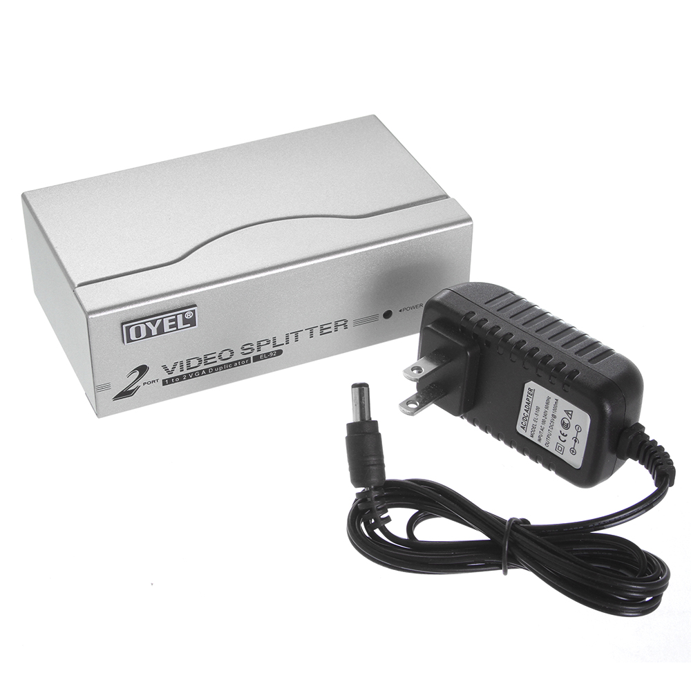 1 PC to 2 Monitor 2 Port Video LCD Splitter Box Adapter w// Power Cable