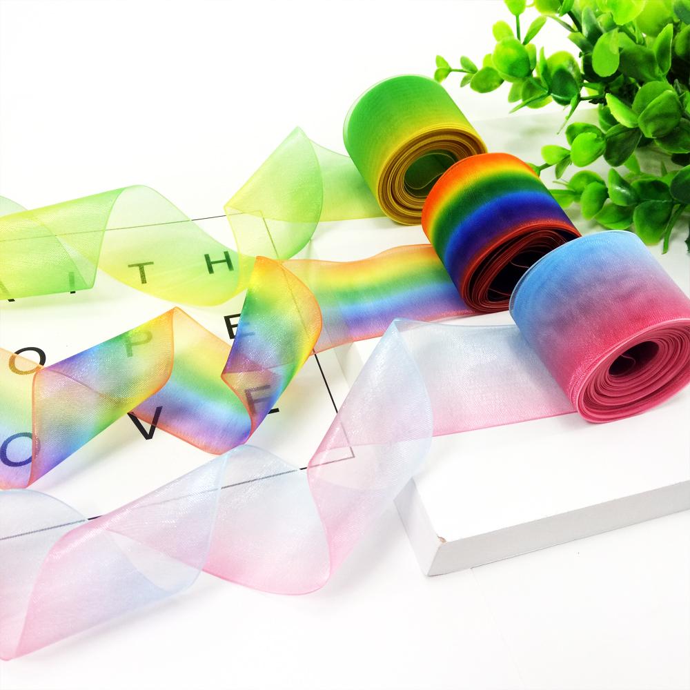 5Yards X 80mm Gradient Colorful Flower Organza Ribbon DIY Craft Ribbon Xmas Gift