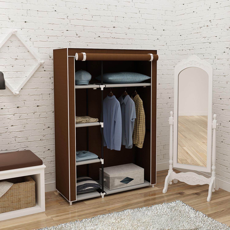 Home Organization Portable Closet Storage Organizer Clothes Wardrobe Shoe  Rack With Shelves Black Closet Organizers
