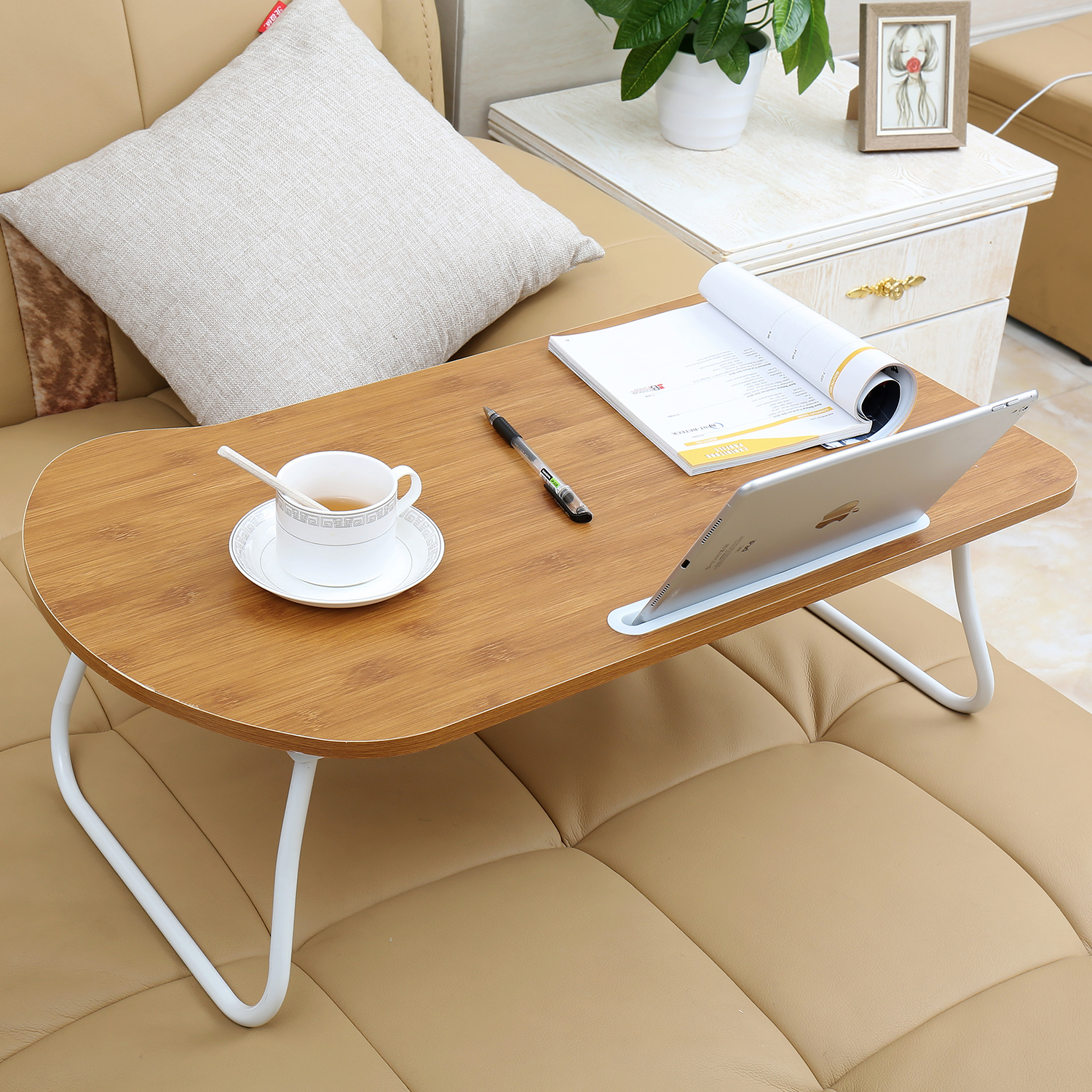 27 Laptop Table Desk Lap Stand Sofa Bed Tray Computer Notebook With Tablet Slot