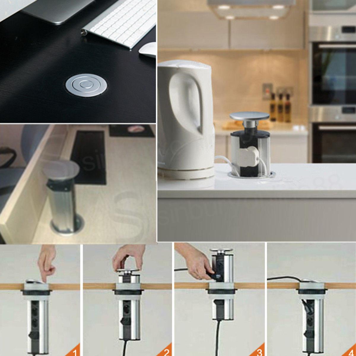 Pull Pop Up Electrical Uk Plug Socket 2 Usb Kitchen Desk Worktop Extension Lead