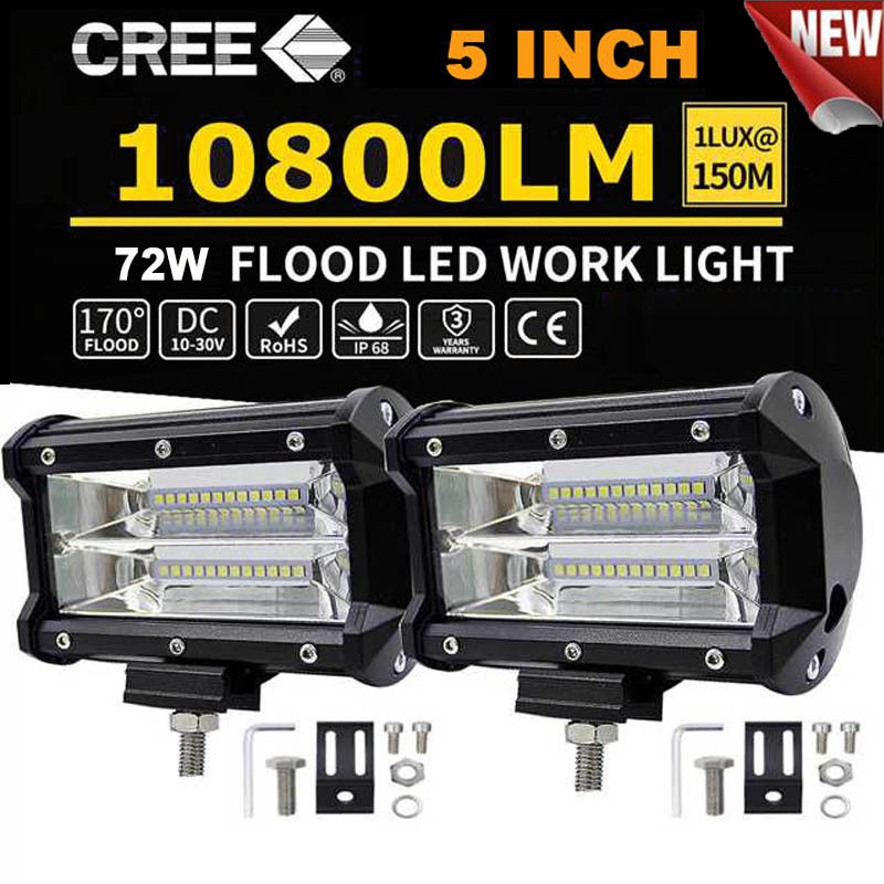 2x Car Truck LED Work Spot Light 12V 24V 72W  Flood Driving Bright Bulb SUV UK