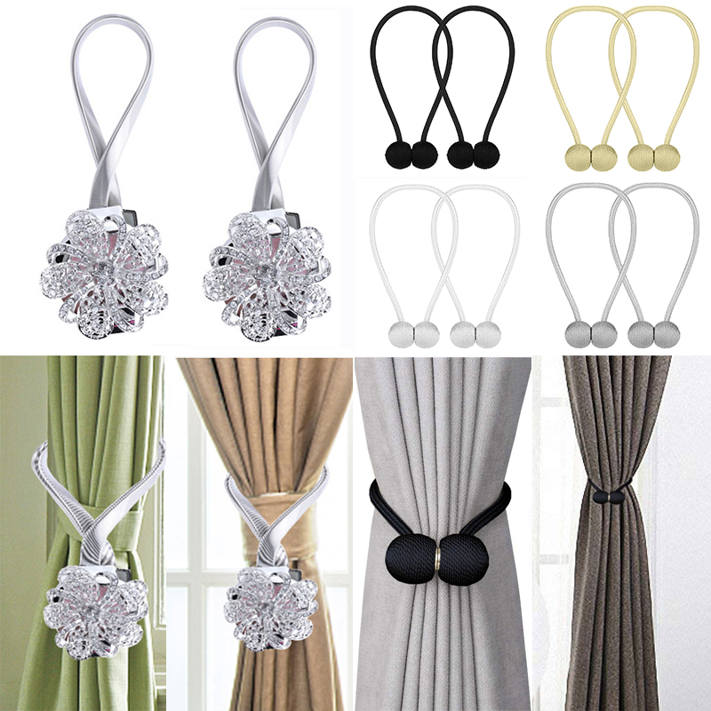 2 x Curtain Tie Backs Crystal Flower Diamond Magnetic Curtain Buckle Clips Metal