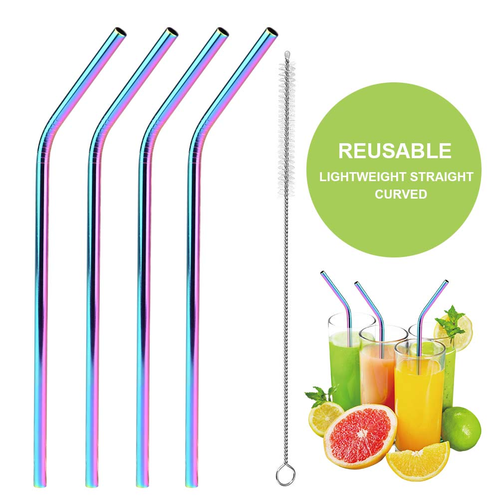 4x Reusable Rainbow Stainless Steel Metal Drinking Straw Straws /& Cleaning Brush