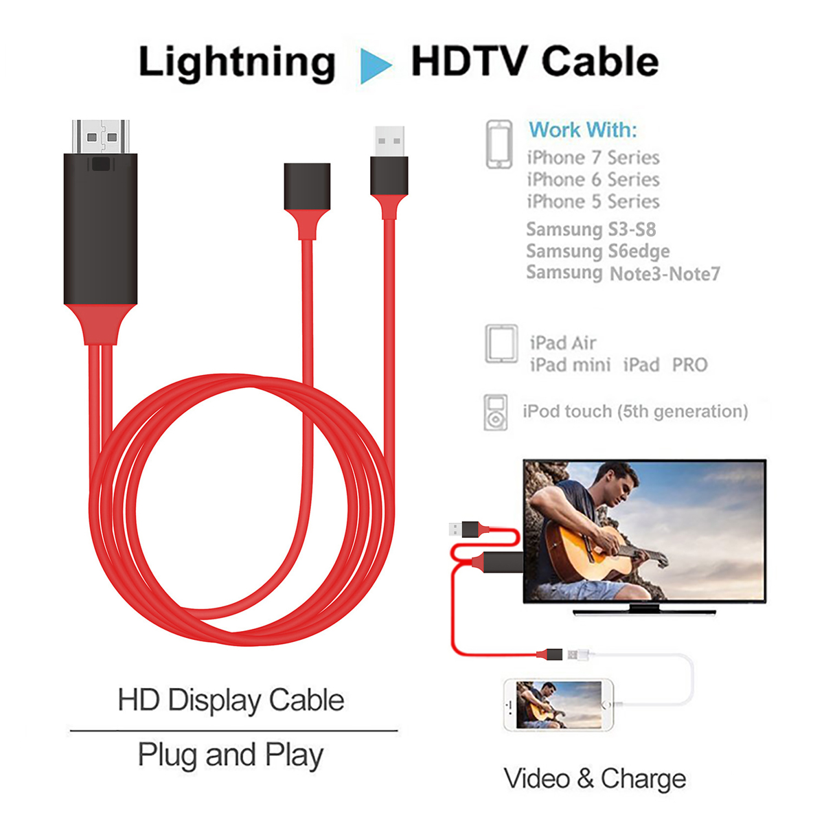 How To Connect Iphone To Tv Via Usb Cable: 1080P MiraScreen HDMI AV Adapter Cable for connect Samsung S6 rh:ebay.co.uk,Design