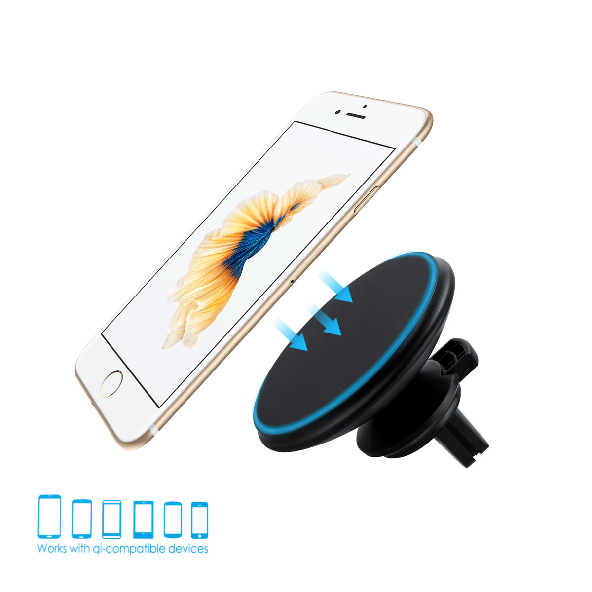 Magnetic iphone car mount charger 6