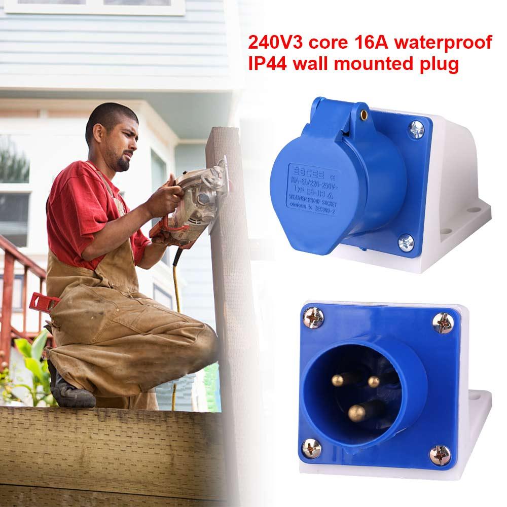 Ip44 Waterproof 16 Amp 3 Pin Industrial Site Plug  U0026 Socket