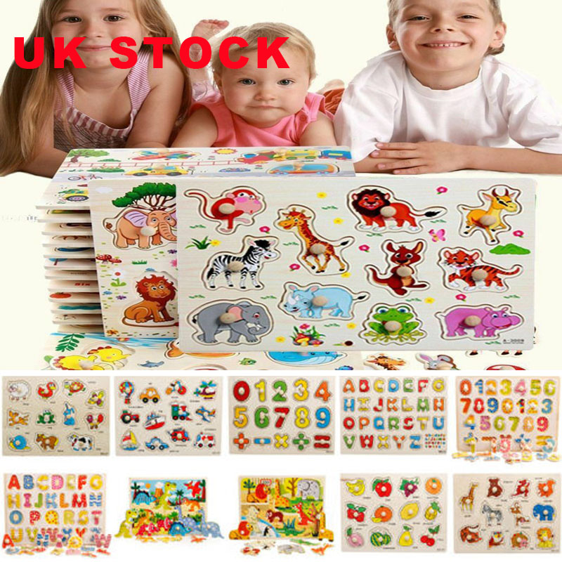Wooden Puzzle Baby Kids Jigsaw Alphabet Letters Animal ...