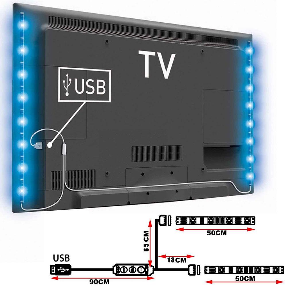 2 in 1 50cm usb rgb led streifen licht pc tv hintergrundbeleuchtung mehrfarben ebay. Black Bedroom Furniture Sets. Home Design Ideas