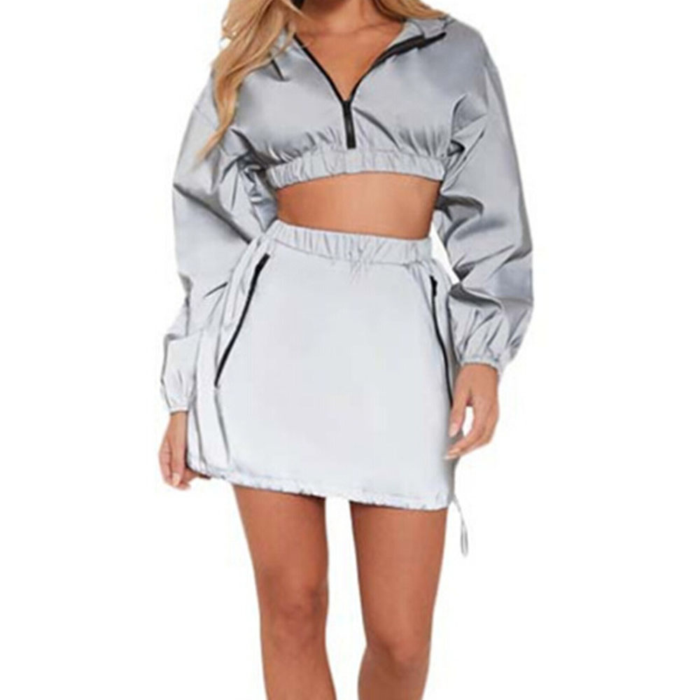 f1d8d0b2c9 Details about 2Pcs Women Reflective Crop Coat Jacket Hoodies Mini Skirt  Party Clubwear Outfit
