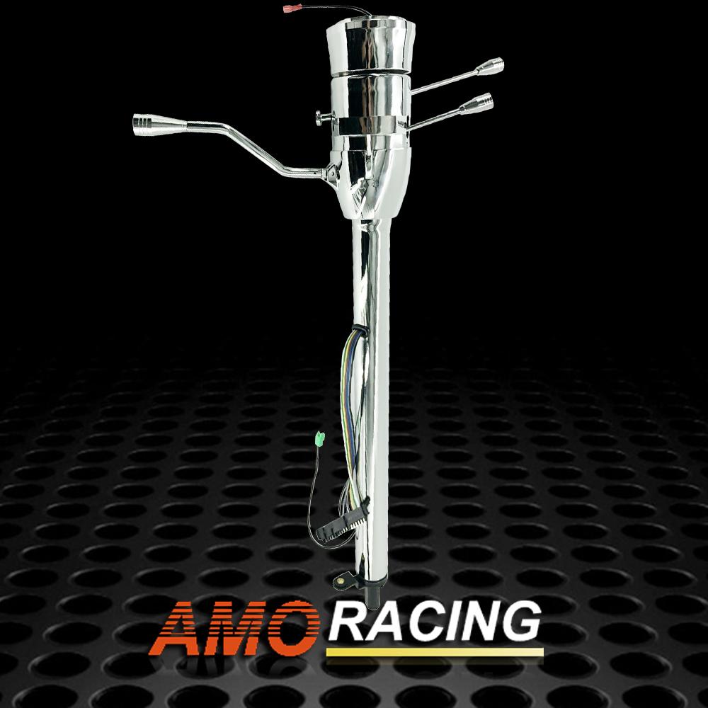 "Tilt Auto 32/"" Steering Column No Key /& Shift Indicator W// Wheel Adapter Chrome"
