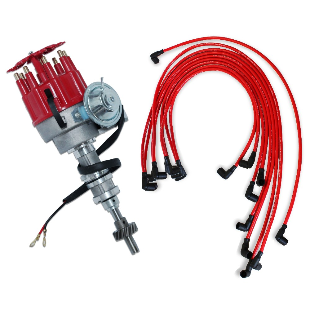 For Ford 351C 400 460 Electronic Distributor & 9.5 MM Red 90 Spark ...