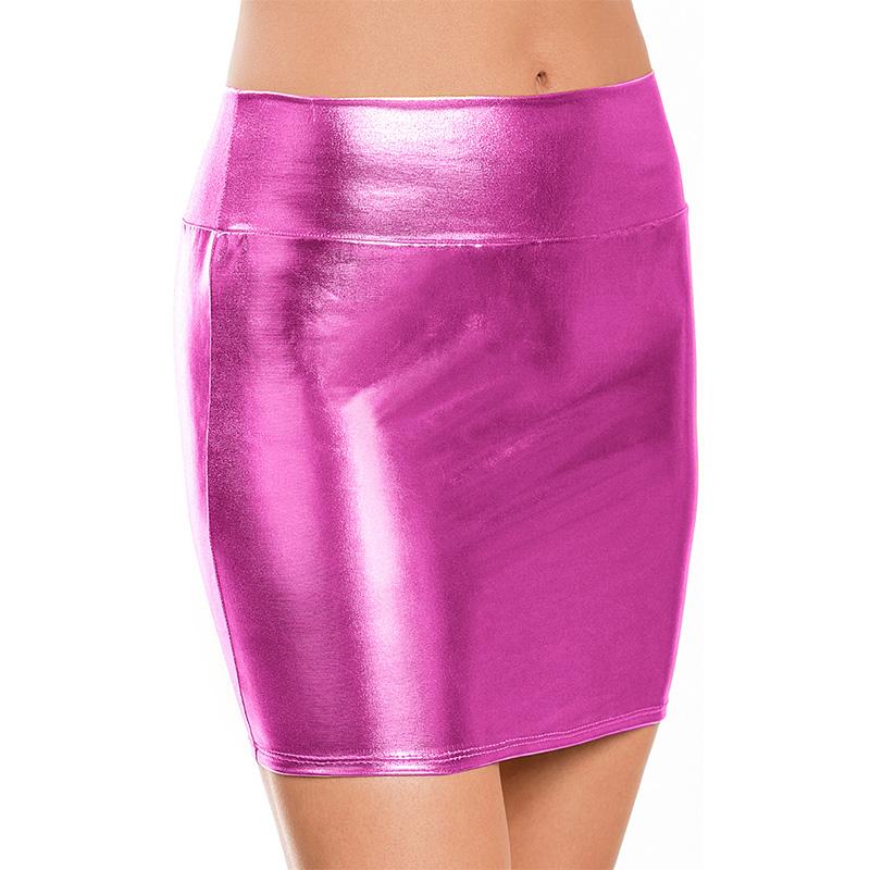 Women-Ladies-Stretch-Metallic-Shiny-Wet-Look-High-Waist-Pencil-Mini-Party-Skirt