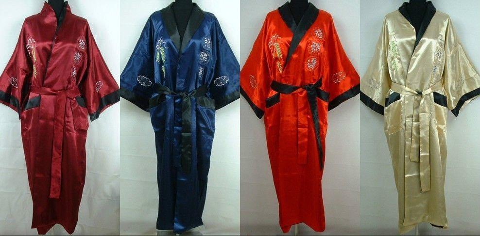 Men Double-Face Silk Satin Men\'s Kimono Robe Gown Bathrobe Dress ...