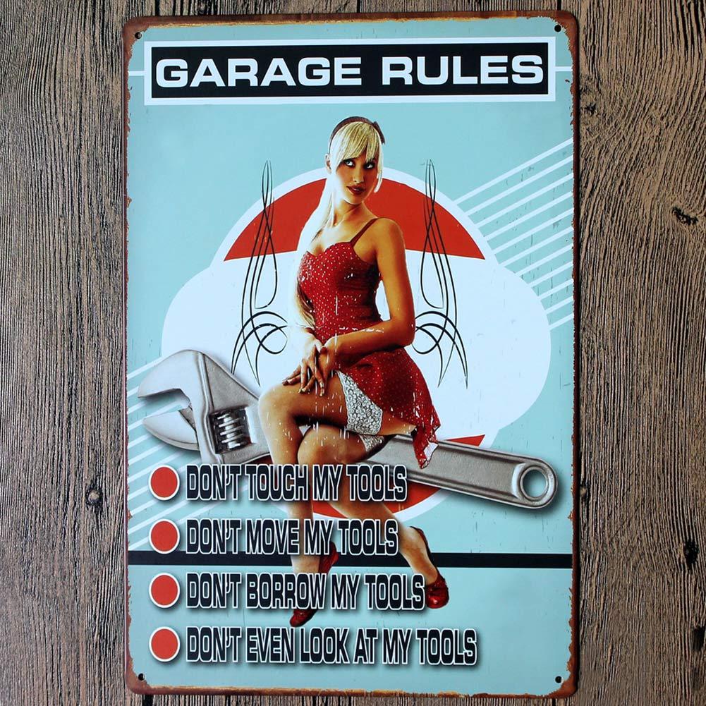 Metal poster wall decor car repair garage retro decal - Plaque deco cuisine retro ...